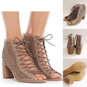 Vince camuto lace up ankle booties
